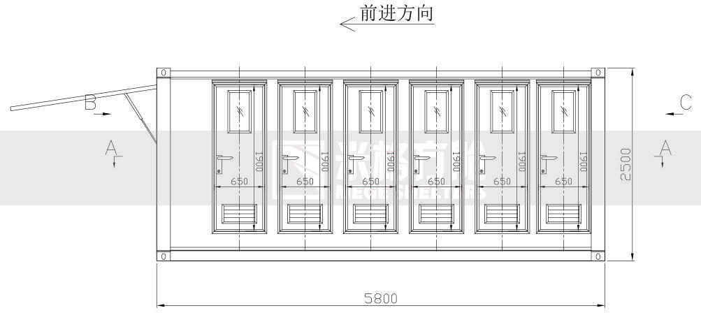container toilet layout